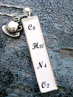 Caffeine Addict, C8H10N4O2,  Molecule White Pewter Chemistry Chemical Formula Pendant with Sterling Silver Chain and coffee/tea cup pendant by LeftBrainRightBrain on Etsy