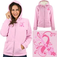 Pink Ribbon Sherpa Lined Hooded Sweatshirt at The Animal Rescue Site