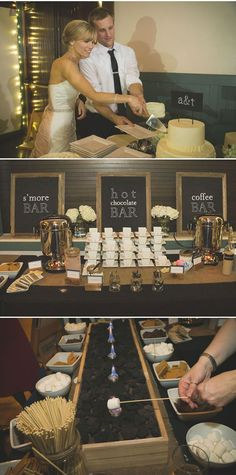 What a great idea! Set up a s'mores bar and station, hot chocolate bar and coffee bar so guests can help themselves to warm treats. | Elegant Black and White Wedding in Atlanta - WeddingWire: The Blog