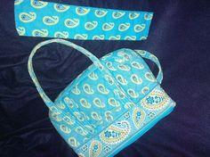 Vera Bradley Purse Bermuda Blue & Green Paisley Quilted Handbag Tote #VeraBradley #TotesShoppers