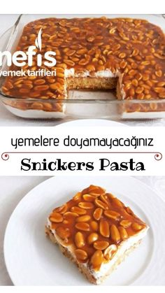 Snickers Pasta Tarifi nas l yap l r 2 319 ki inin defterindeki Snickers Pasta Tarifi nin resimli anlat m ve deneyenlerin foto raflar burada Yazar Saime nin mutfa Yummy Recipes, Easy Cake Recipes, Easy Desserts, Great Recipes, Yummy Food, Pie Recipes, Snickers Cake Recipes, Snickers Pie, Walnut Cake