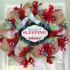 Baby Wreath  Shhh Baby sleeping wreath in by CustomWreathsAndMore, $95.00