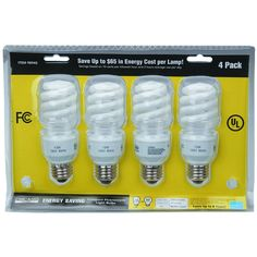 Pack of 4 13 Watt Spiral Bulbs