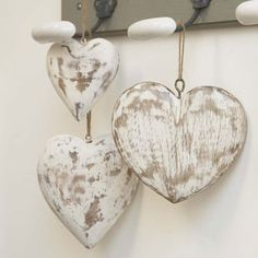 Hand Carved Vintage Wooden Decorative Hearts - Unique Home Accessories ...