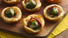 Brussels Sprouts and Bacon Crescent Cups using Green Giant veggies. Party apps that have it all. Try flaky crescents with cheese, bacon and a veggie! This tasty recipe is perfect for game day and only takes 25 minutes to prep. Finger Food Appetizers, Yummy Appetizers, Appetizer Recipes, Party Appetizers, Thanksgiving Appetizers, Thanksgiving Recipes, Holiday Recipes, Tapas, Crescent Roll Recipes