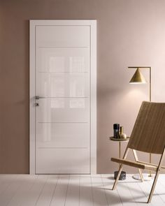 """& & & & How to match a door white lacquer ? In combination with the color """"taupe"""". You give then a tone of chic and dlicat your interior. White Bedroom Door, Bedroom Door Design, Door Design Interior, Home Room Design, Home Interior, White Interior Doors, White Doors, Wooden Front Door Design, Interior Paint Colors For Living Room"""