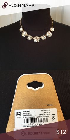 """🌼H.P. 10.25.17  Monet rhinestone necklace! ✨💫✨ Best in jewelry & accessories! 🎉🎉🎉🎉  This necklace is so pretty! It has 7 large rhinestones on an approx. 16"""" gold tone chain plus extension. The larger stones are about 3/4"""".  Looks great with either dressy or casual outfits! So pretty! ❤️ Monet Jewelry Necklaces"""