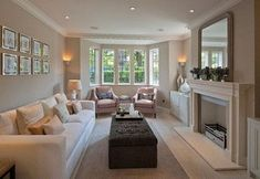 Middleway, London - transitional - Living Room - Other Metro - Peach Studio // long living room layout with mirror above fireplace Lounge Room, Transitional Living Rooms, New Homes, Rectangular Living Rooms, Living Room Decor, New Living Room, Home, Room Remodeling, Apartment Living Room