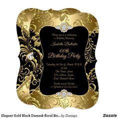 Shop Elegant Gold Black Damask floral Birthday Party Invitation created by Zizzago. Elegant Birthday Party, Gold Birthday Party, Golden Birthday, Surprise Birthday, 40th Birthday, 21st Birthday Invitations, Damask, Floral, Sweet 16