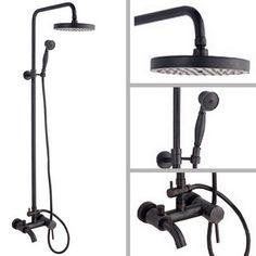 Black Oil Rubbed Brass Wall Mounted Bathroom Rain Shower Faucet Set Bathtub Mixer Tap Chg039