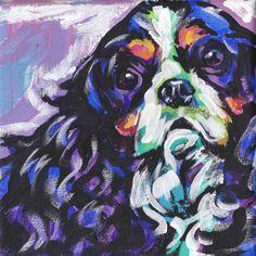 Cavalier King Charles Spaniel art print modern Dog art pop dog art