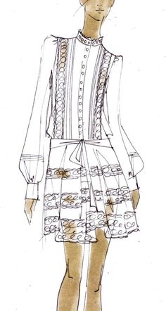 Fashion Illustration Ideas Sketch of the sleeved Moriah dress from the Pre-Fall 12 collection for Temperley London - Fashion Illustration Sketches, Illustration Mode, Fashion Sketchbook, Fashion Design Sketches, Fashion Drawings, Love Fashion, Trendy Fashion, Fashion Art, Autumn Fashion