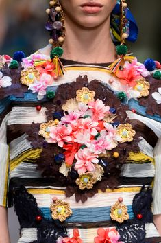 Dolce & Gabbana at Milan Fashion Week Spring 2013 colorful embroidery