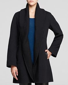 Eileen Fisher Ribbed Shawl Collar Coat | Bloomingdale's