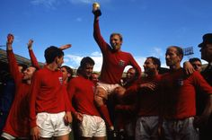Not published in LIFE. Bobby Moore raises the World Cup trophy, July 30, 1966, after England defeated Germany, 4-2, in the final before 98,000 fans at Wembley Stadium, London.