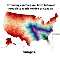This map shows how many counties you will have to reach Canada or Mexico🇨🇦🇲🇽 How many is it for you?? Comment below!!👇 Like my maps? Follow me @maps4u for more👍 . . . . . . . . . . . . . . . . #map #maps #maps4u #mappen #mappe #mapa #karte #karta #kaart #kartta #kart #mapu #peta #mahere #mapo #geography #aardrijkskunde #geografia #erdkunde #geographie #geographic #geografi #cografya #meme #lol #follow #usa #canada #mexico
