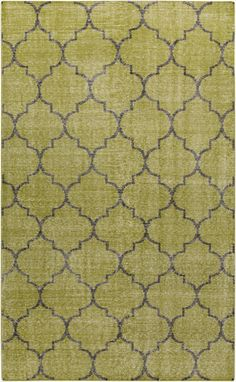 Moroccan motif on a hand knotted wool rug in olive green. From the Zahra Collection by Surya. (ZHA-4012)