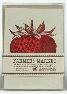 STRAWBERRY GREETING CARDS Farmers Market Letterpress Card Pack of 8 via Etsy