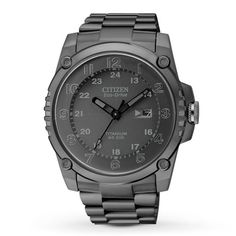 CITIZEN MEN'S WATCH SUPER TITANIUM - The Super Titanium men's watch from Citizen holds its own, with a movement tested to be 2.5 times more shock-resistant than its competitors. With a solid black titanium case and bracelet, black dial and black luminous hands and numerals, this men's timepiece is up to the challenge at both work and play. Citizen Eco-Drive is fueled by light, any light, so it never needs a battery.