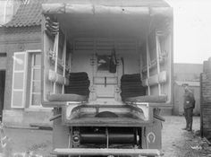 View of the interior of a motor ambulance parked at a base hospital in France.