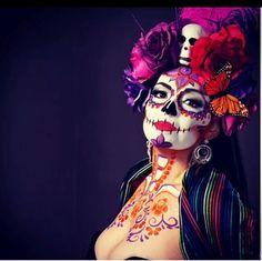 Dia de Los Muertos Halloween Bride, Halloween Skull, Halloween 2017, Halloween Make Up, Halloween Costumes, Vintage Halloween, Sugar Skull Costume, Sugar Skull Makeup, Sugar Scull