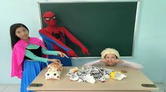 Spiderman and Anna Princess Smash Piggy Bank to Pieces of Frozen Elsa an...