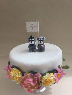 Mr & Mrs Schnauzer Dog, wedding Bride and Groom, Unique Handmade unusual OOAK wedding gift, cake topper by MomapawsHomecraft on Etsy