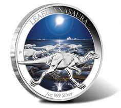 2015  Australian Age of Dinosaurs $1 Leaellynasaura Silver Coin  features a depiction of Leaellynasaura against a starlit prehistoric scene