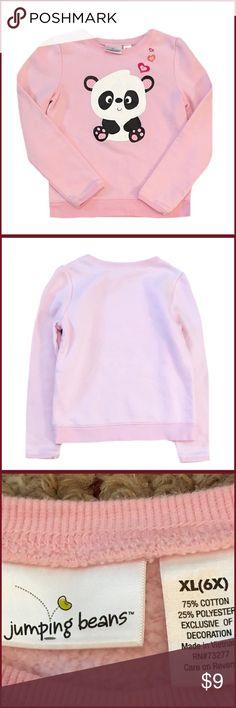 "Jumping Beans Girl's Pink Panda Sweatshirt Gently used girl's Jumping Beans size xl (6X) pink panda long sleeve sweatshirt. Made with 75% Cotton and 25% Polyester. Length is 18"" Jumping Beans Shirts & Tops Sweatshirts & Hoodies"