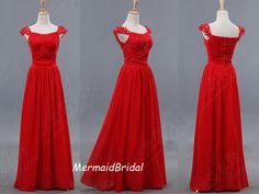 2013 Simple Chiffon Red Prom Dresses, A-line Evening Gown Sweetheart Neckline, Long prom dresses, with cap sleeves