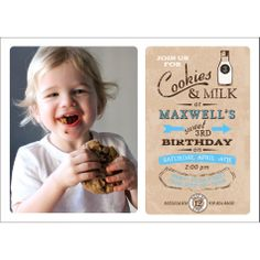 Vintage Milk and Cookies Birthday Party Printable Photo Invitation - Blue