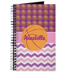 Pink Purple Chevron Basketball Journal on CafePress.com