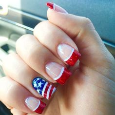 Patriotic-American-Flag-Summer-Design-With-Negative-Space-For-Wide-Nails Pretty Gel Nails 2018 - Summer Nails Trends Nail Art pretty Gel Nails 2018 Holiday Nail Designs, Holiday Nails, Simple Nail Art Designs, Acrylic Nail Designs, Acrylic Nails, Fancy Nails, Pretty Nails, How To Do Nails, My Nails