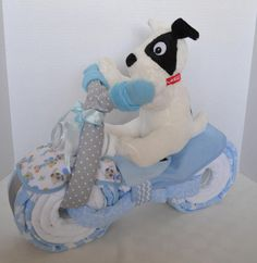 Motorcycle Diaper Cake, Sprockets Dog, Baby Shower Gift, 2 Wheeler, Stars, Baby Boy Gift, New Baby