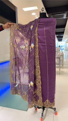 Mauve shade for semi causal Punjabi suit dupatta totally hand work Embroidery Suits Punjabi, Embroidery Suits Design, Embroidery Patterns, Punjabi Suits Designer Boutique, Indian Designer Suits, Bridal Suits Punjabi, Ladies Suits Indian, Salwar Suits Party Wear, Hand Painted Dress