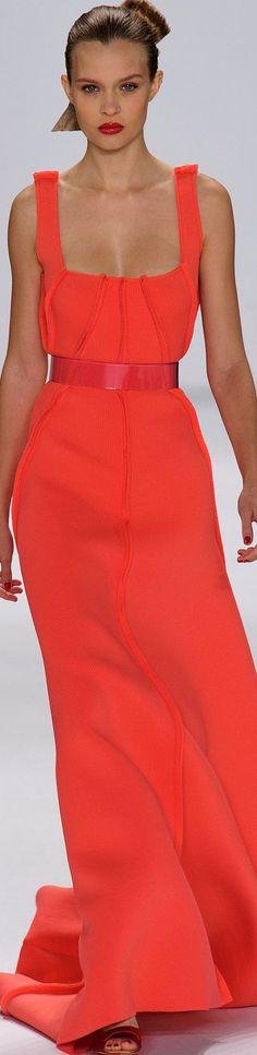 Carolina Herrera Spring 2015 orange maxi dress women fashion outfit clothing style apparel @roressclothes closet ideas