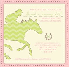 Prêt à Papier: Kids Themed Birthday Party Invitations Horse riding birthday party