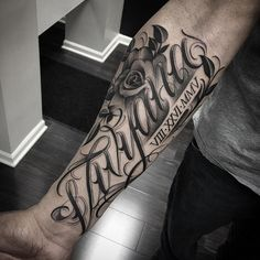 Font with flower forearm tattoo - 110+ Awesome Forearm Tattoos <3 <3