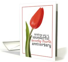 Happy 74th Anniversary Beautiful Red Tulip card