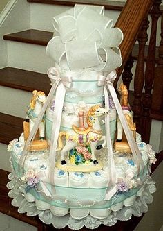 Carousel Diaper Cake, Wish I was talented enough to make  this for my sister :/