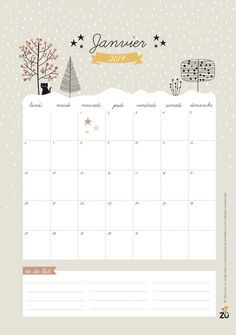 Free printable French 2014 calendar by Zugalerie