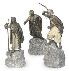 A GROUP OF THREE AUSTRIAN COLD-PAINTED METAL ORIENTALIST FIGURES, CAST FROM MODELS BY FRANZ BERGMAN, VIENNA, LATE 19TH CENTURY,  Price realised USD 3,750