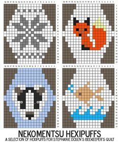Stricken Ravelry: A Selection of Hexipuffs pattern by Louise Lavender - handstulpen sitricken Knitting Charts, Knitting Stitches, Embroidery Stitches, Knitting Patterns, Crochet Patterns, Fair Isle Chart, Little Cotton Rabbits, Cross Stitch Animals, Fair Isle Knitting