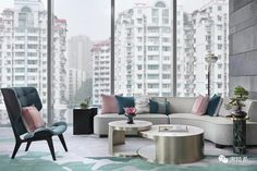 Jiai Interior Design (Shanghai) Co. Art Deco Living Room, Living Room Modern, Living Room Interior, Home Living Room, Living Room Designs, Living Spaces, Living Area, Sofa Furniture, Outdoor Furniture Sets