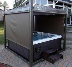 New backyard hot tub privacy shades 58 Ideas Hot Tub Gazebo, Hot Tub Backyard, Hot Tub Garden, Backyard Patio, Hot Tub Privacy, Whirlpool Deck, Privacy Shades, Tub Enclosures, Hot Tub Cover
