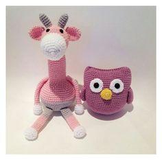 Meget fine hæklet giraf og ugle - fra bareanette - crochet