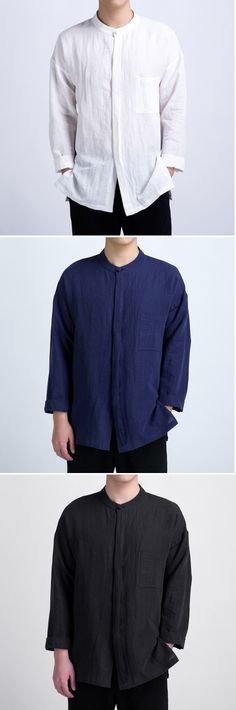 c761003e619 TWO-SIDED Mens Plus Size Retro Design Casual Loose Cotton Shirts With  Chinese Button is fashionable and cheap