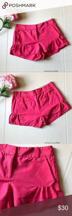 J. Crew Flutter Shorts Pink shorts with cute flutter detail. Belt loops. An inside button for added security. No flaws. Size 0.   Length: 11 inches.  Waist: 14 inches (flat measurement). Material and care instructions in photos. J. Crew Shorts