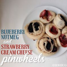 Pinwheels 1. Roll out puff pastry sheet. I used one sheet, split it in 2, & rolled them out extra thin 2. Spread fillings all around the sheet. Strawberry: Spread cream cheese, then sprinkle strawberries. Blueberry: Spread butter, sprinkle nutmeg, sprinkle blueberries. 3. Roll up the pastry and use a pizza cutter or sharp knife to cut into 10-12 segments. 4. Bake at 350F for 25-30 minutes, until they are puffy. These store really well. You can also make big batches and freeze them.