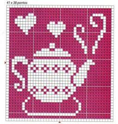 ♥ ♥ cross stitch - good idea for filet crochet block for kitchen curtains Crochet Motifs, Crochet Chart, Filet Crochet, Crochet Patterns, Cute Cross Stitch, Cross Stitch Charts, Cross Stitch Designs, Cross Stitch Patterns, Cross Stitching